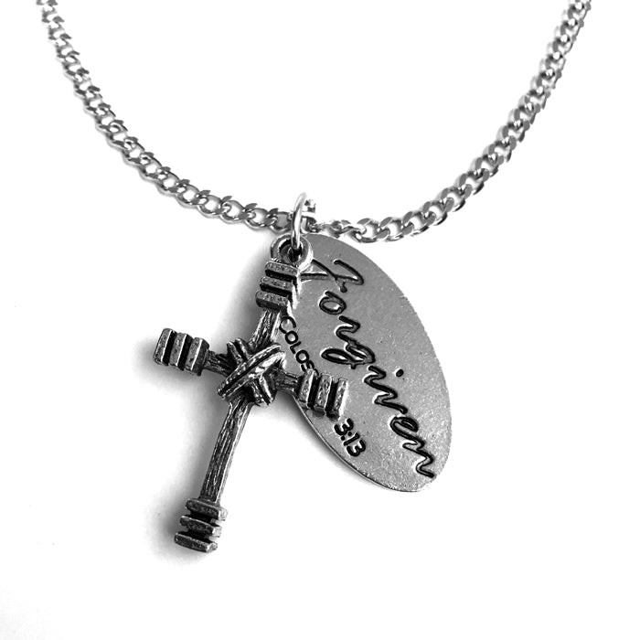 Rugged Cross Forgiven Tag On Chain