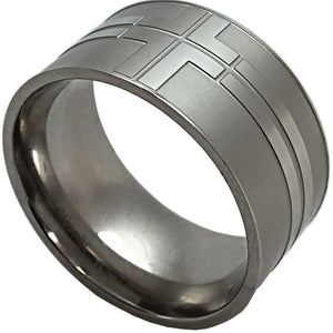Wide Cross Band Ring