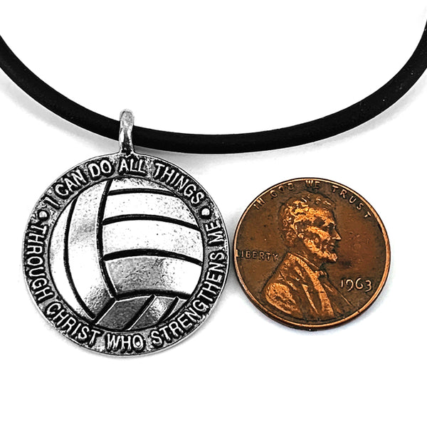 Volleyball Antique Pewter Necklace