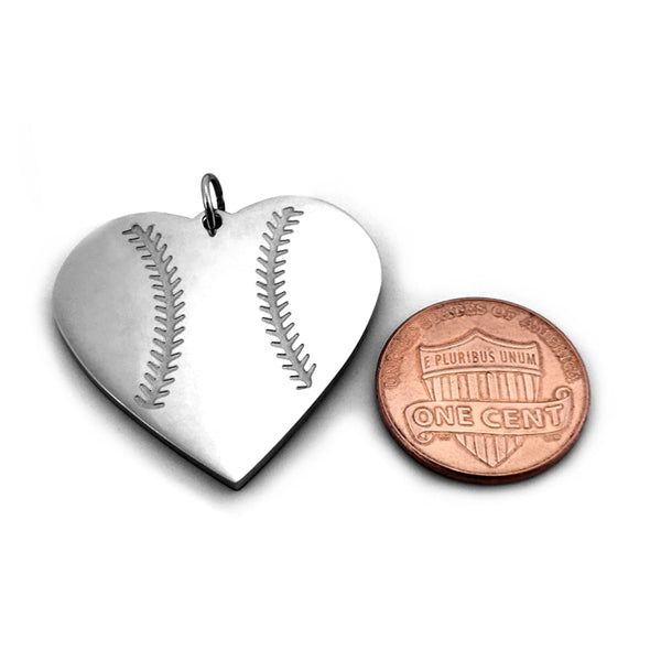 Baseball Heart Necklace on Leather