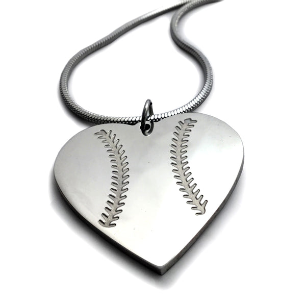Baseball Heart Necklace on Rope Chain