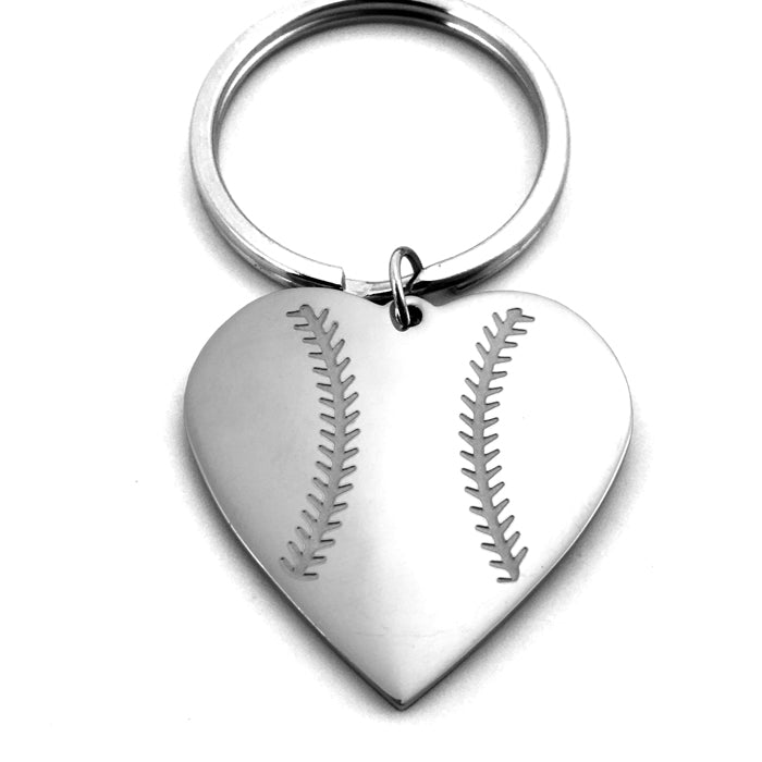 Baseball Heart Necklace on Key Ring