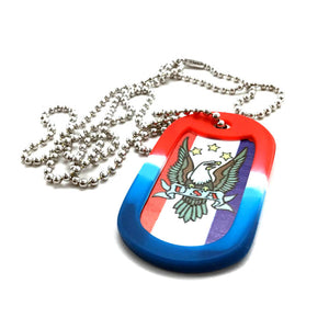 American Eagle USA Dog Tag Necklace With Silencer