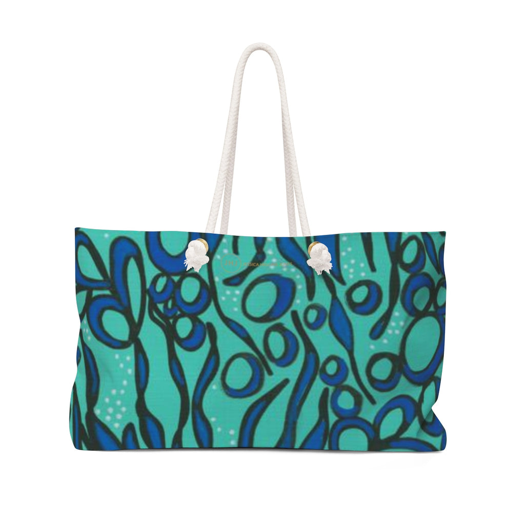 JESSICA HIGGINS JONES ART BLUE SEAWEED TOTE BAG