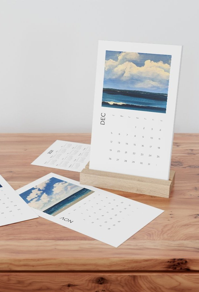 Seaside Vertical Desk Calendar
