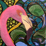 JESSICA HIGGINS JONES ART MIXED MEDIA ACRYLIC PAINTING TROPICAL FLAMINGO