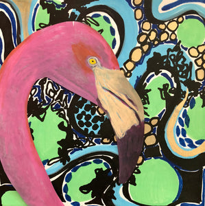 JESSICA HIGGINS JONES ART PAINTING FLAMINGO ACRYLIC ABSTRACT