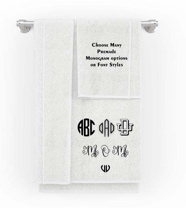 Personalised Embroidered Monogram Towels by Size