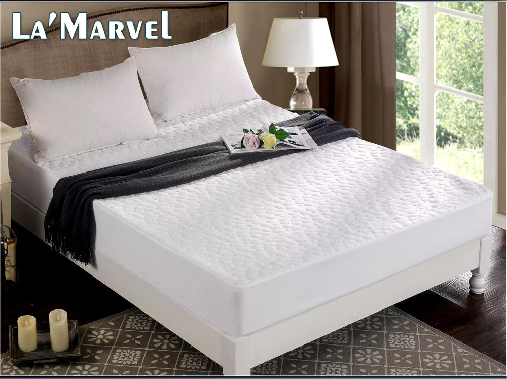 La'Marvel Mattress Protector White Color Water Proof Quilted Pattern - La'Marvel