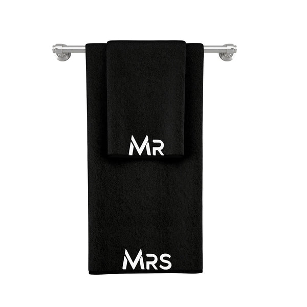 La'Marvel Personalised Embroidery Towels Black