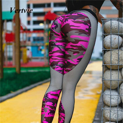 Pink Camo Heart Print Leggings