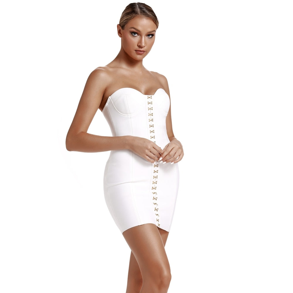Body Rockin Summer Strapless White Mini Dress - NuRivals.com,  Body Rockin Summer Strapless White Mini Dress, , Nu Rivals, Nu Rivals