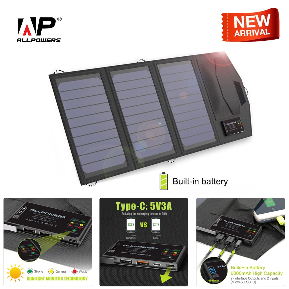 ALLPOWERS Power Bank 5V 15W Solar External Battery Dual USB 5V 3A Outdoors Solar Power Bank Type-C 5V 3A Solar Charger - Dashing Beauty,  ALLPOWERS Power Bank 5V 15W Solar External Battery Dual USB 5V 3A Outdoors Solar Power Bank Type-C 5V 3A Solar Charger, , NU Rivals, Dashing Beauty