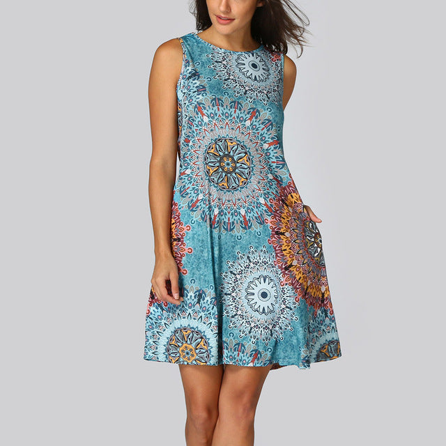 Sleeveless Floral Print Dress - Dashing Beauty,  Sleeveless Floral Print Dress, , NU Rivals, Dashing Beauty