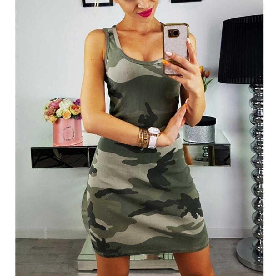 Sleeveless Army Green Camouflage Mini Dress - NuRivals.com,  Sleeveless Army Green Camouflage Mini Dress, , NU Rivals, NU Rivals