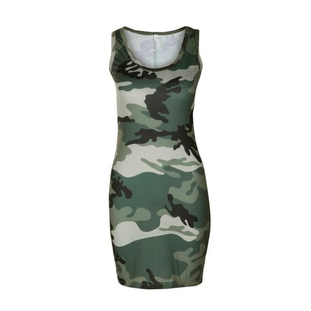 Sleeveless Army Green Camouflage Mini Dress - Dashing Beauty,  Sleeveless Army Green Camouflage Mini Dress, , NU Rivals, Dashing Beauty