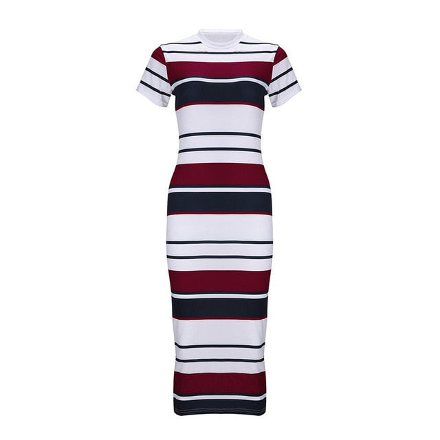 Slim Bodycon Knee-Length Stripe Dress - Dashing Beauty,  Slim Bodycon Knee-Length Stripe Dress, , NU Rivals, Dashing Beauty