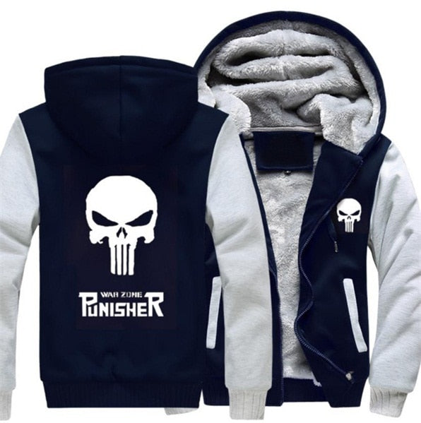 Men Women Punisher Skull Hoodie Fleece - Dashing Beauty,  Men Women Punisher Skull Hoodie Fleece, , NU Rivals, NU Rivals