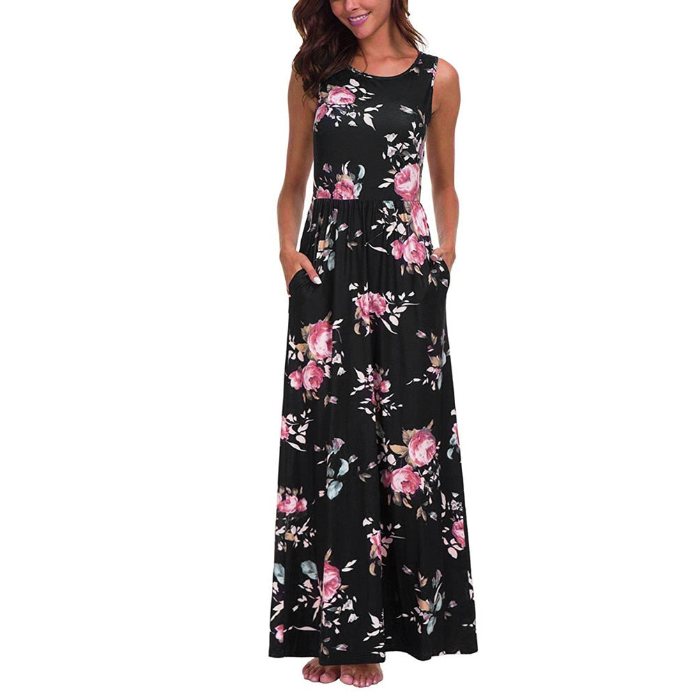 Sleeveless Floral Maxi Dress - Dashing Beauty,  Sleeveless Floral Maxi Dress, , NU Rivals, Dashing Beauty