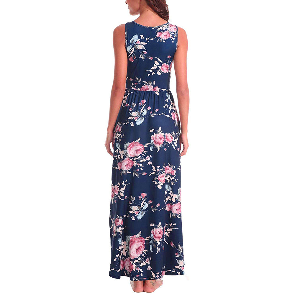 Sleeveless Floral Maxi Dress - NuRivals.com,  Sleeveless Floral Maxi Dress, , NU Rivals, NU Rivals