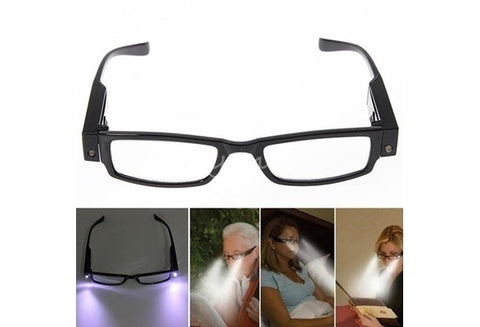 Unisex Rimmed Reading Eye Glasses Eyeglasses with LED Light Diopter Magnifier 0/+1/+1.5/+2.0/+2.5/+3.0/+3.5/+4.0 - UpTechMart