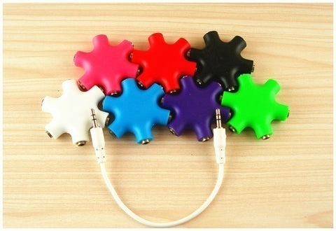 Hot Accessory! Headphone Splitter 5-Way Adapter 6 Port 3.5mm Audio Earbuds Earphones (6 Colors) - UpTechMart
