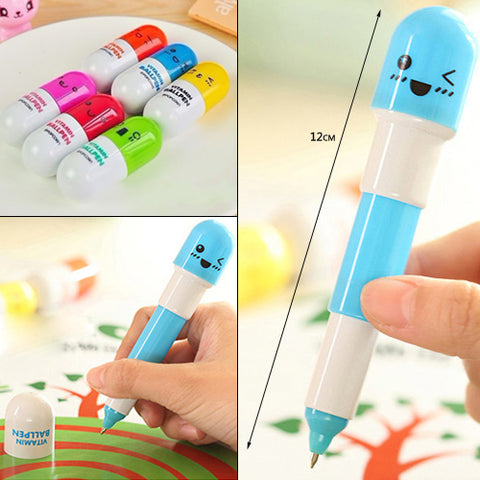 Affordable 3x Mini Micro Tiny Pill-Shaped Ball Point Pen Gadget Novelty - UpTechMart