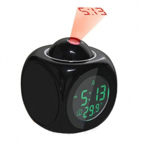 SUPER STUFF! Digital LCD Display Voice Talking Alarm Clock Weather Station LED Projection with Temperature - UpTechMart