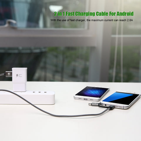 SUPER PRICE! USB Cable QC 3.0 Micro USB Type C Cable Fast Charging 2in1 - UpTechMart