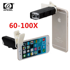 60X -100X Zoom LED Microscope Mobile Phone Camera for iPhone Samsung Huawei - UpTechMart