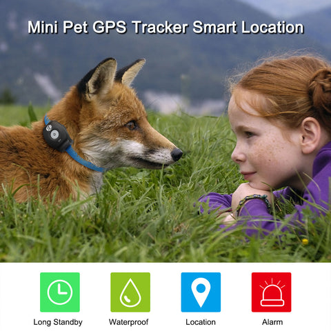GREAT PET TRACKER! Mini Pet GPS Tracker Waterproof Smart Location Free APP with Collar for Pets - UpTechMart