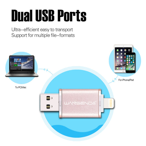 BEST BUY! DUAL USB iPhone & Android Flash Drive High Speed iPhone 7/7plus/6/6s Plus/5s/Ipad USB 2.0 64G, 32G, 16G - UpTechMart