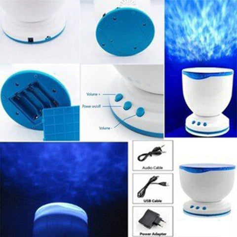 Ocean Blue Sea Waves Projection Lamp With Mini Speaker