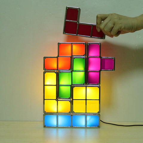 TRENDING! Tetris DIY Constructible Retro Gamer Style Stackable LED Desk Multicolor Lamp - UpTechMart