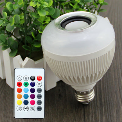 TRENDING! LED Audio Speaker 12W Wireless Bluetooth E27 Colorful Music Playing With 24 Keys IR Remote Control - UpTechMart