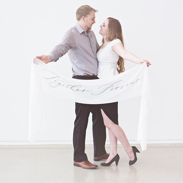 Together Forever Silk Wedding Banner