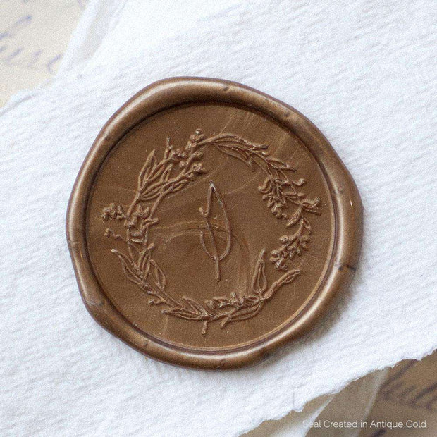 Garden Wreath Single Initial Wax Stamp