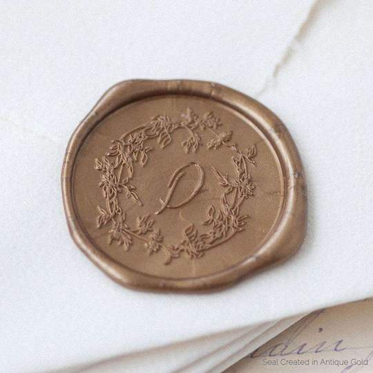 Arbor Wreath Single Initial Wax Stamp