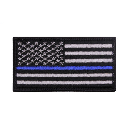 Iron On U.S.A Thin Blue Line Flag Patch