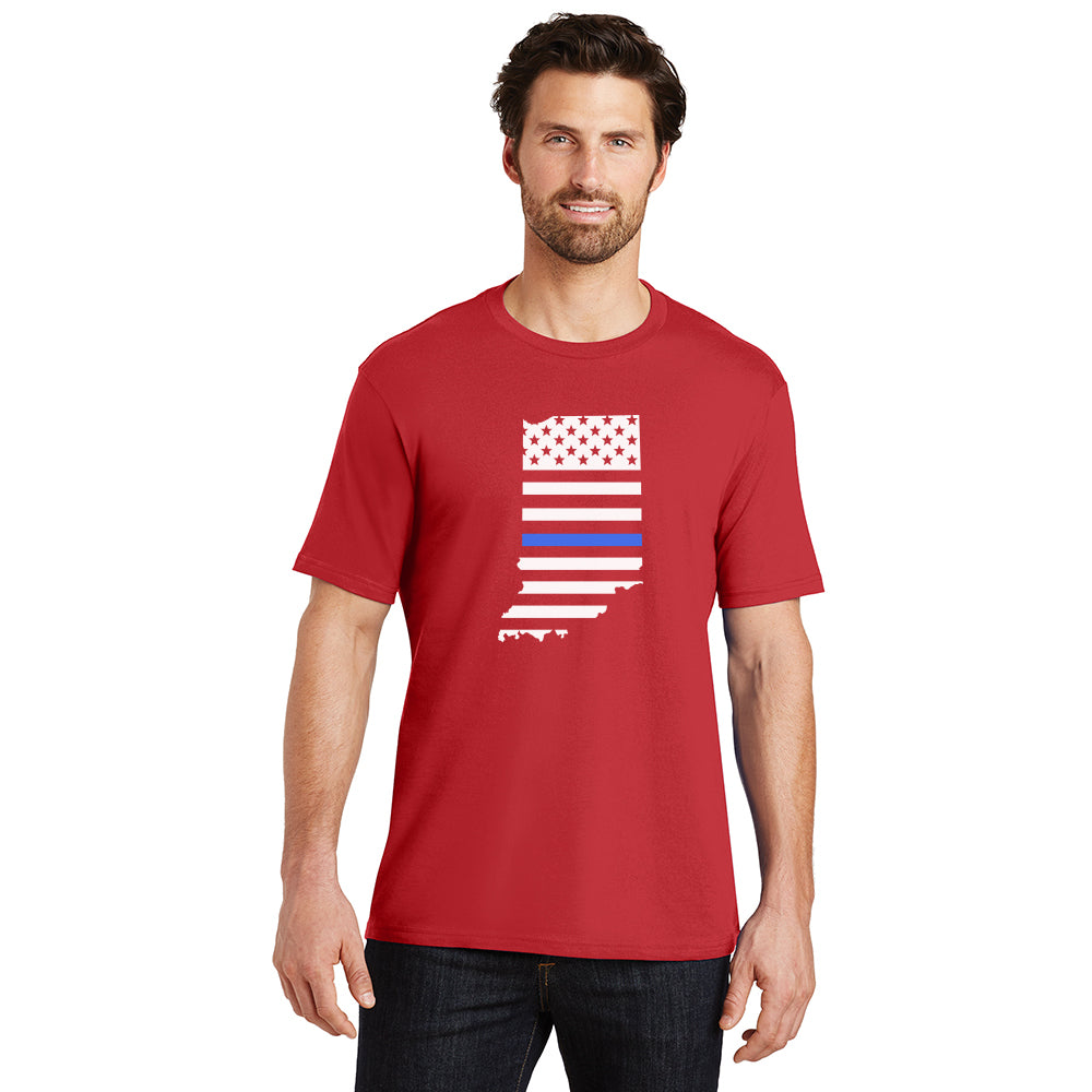 Thin Blue Line Indiana Unisex Red Crew Tee
