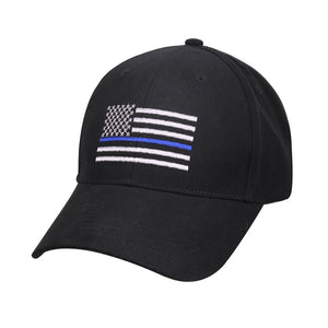 American Flag Thin Blue Line Flag Low Profile Insigna Cap - Black