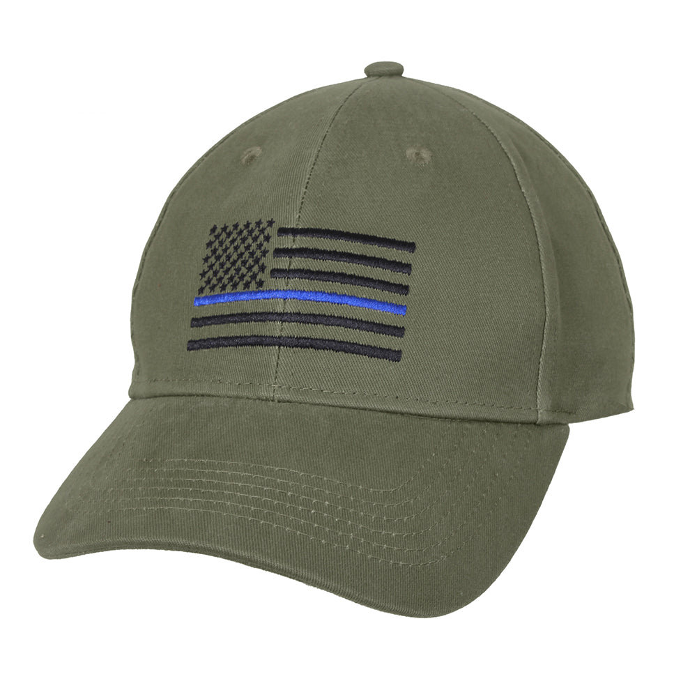 American Flag Thin Blue Line Flag Low Profile Insigna Cap - Olive
