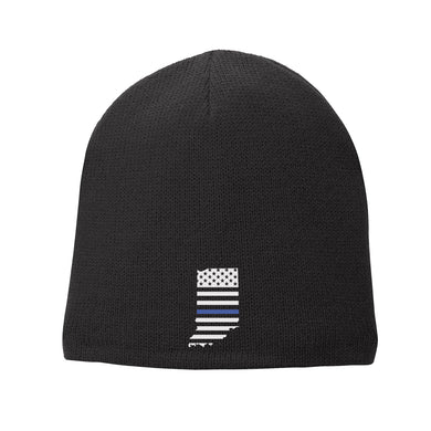 Thin Blue Line Indiana State Fleece Lined Beanie