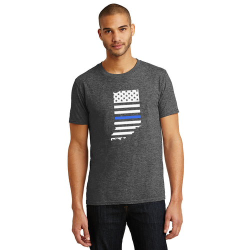 Thin Blue Line Indiana Unisex Heathered Charcoal Crew Tee