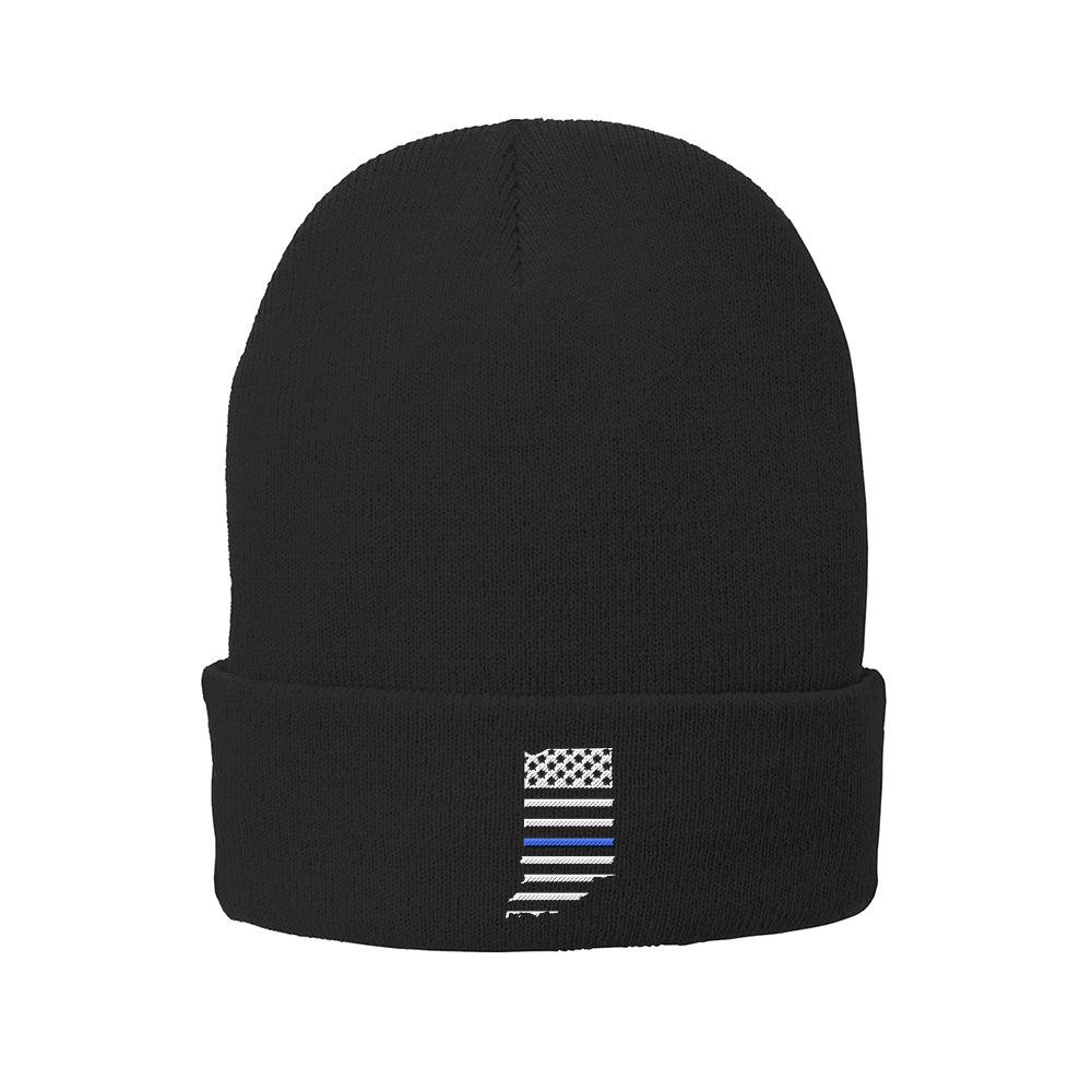 Thin Blue Line Fleece Lined Knit Cap with Cuff