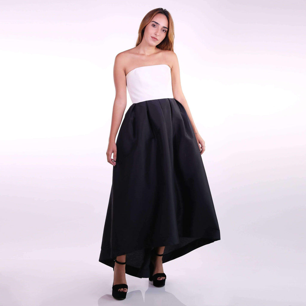 Strapless Box-Pleated High-Low Gown Dress Thea Mechleb