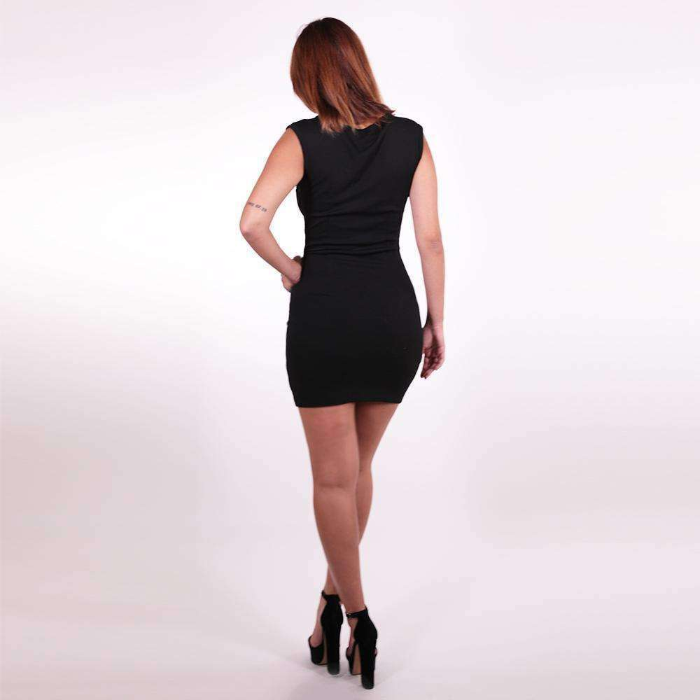 Black V-Neck Mini Dress