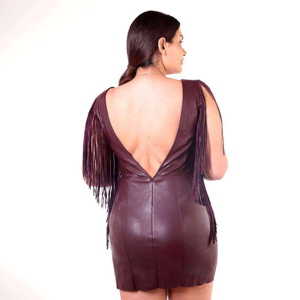 Faux Leather Fringed Burgundy Dress Dress Marilyn Tutunjian