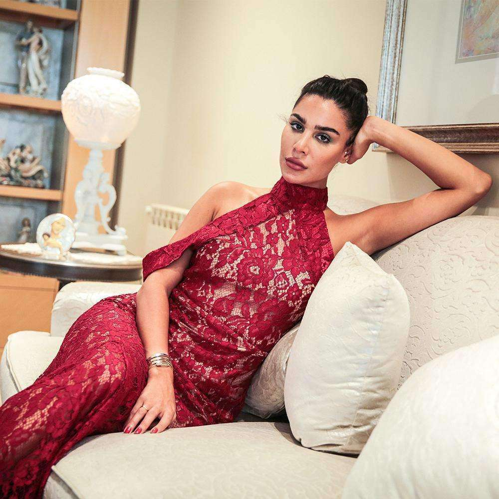 Red Lace Mermaid Gown Dress Cheryl Azoury
