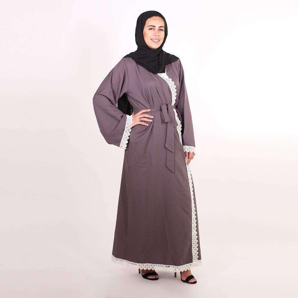 Grey Embroidered Abaya abaya Naziha Khreiss